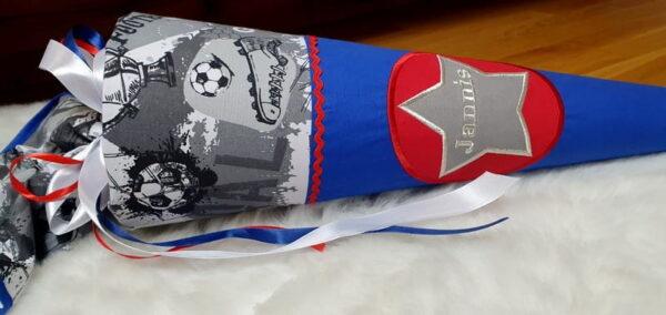 Schultüte blau Fußball
